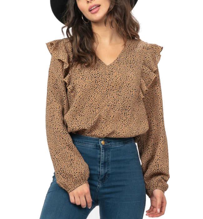Camel Speckled Ruffle Top