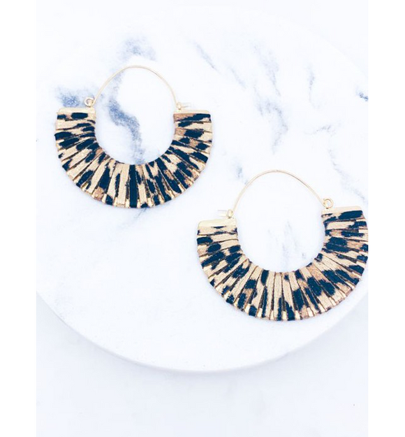 Gold Foil Leopard Earrings