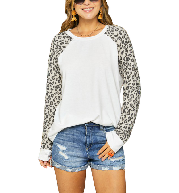 White + Leopard Sleeved Top