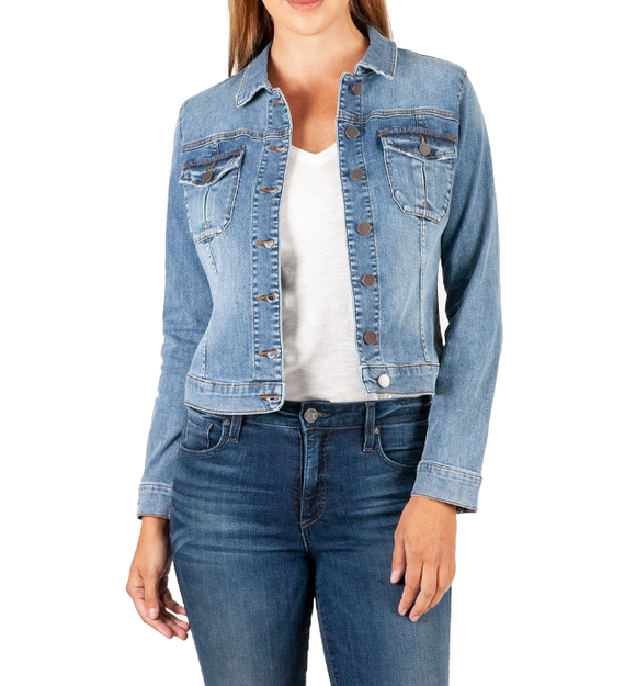 Amelia Denim Jacket Easy Going Medium Wash - Hudson Square Boutique