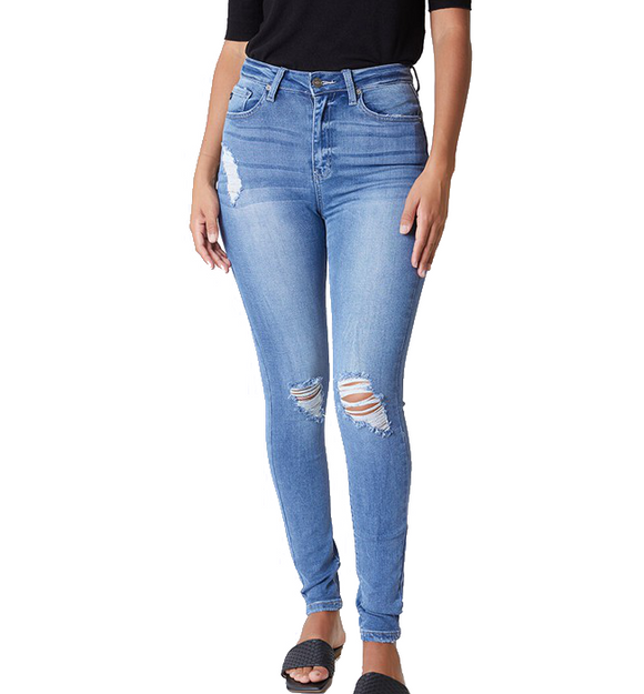 Ultra High Distressed Skinny Jeans - Hudson Square Boutique