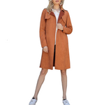 Long Vegan Suede Trench Jacket