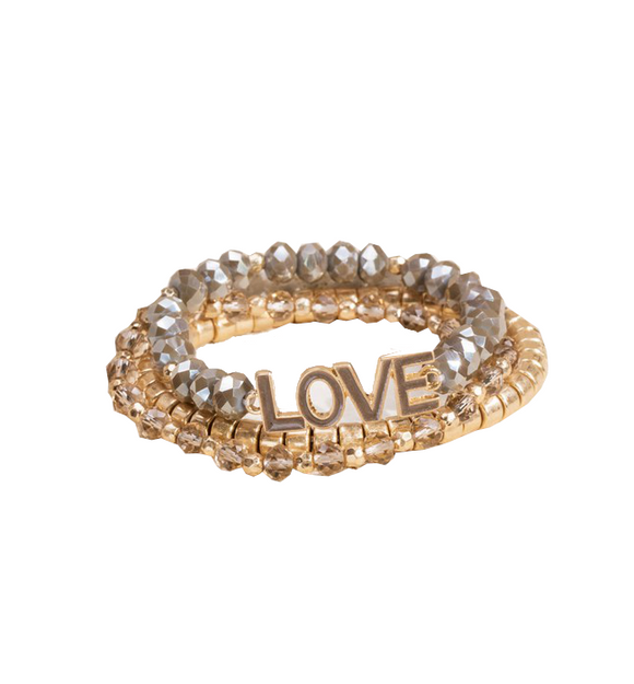 Gold LOVE Beaded Bracelet Set
