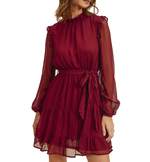 Burgundy Mock Neck Dress - Hudson Square Boutique