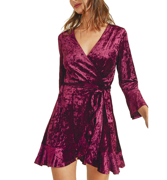 Burgundy Mini Wrap Dress - Hudson Square Boutique