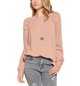 Rose Pointelle Puff Shoulder Top - Hudson Square Boutique
