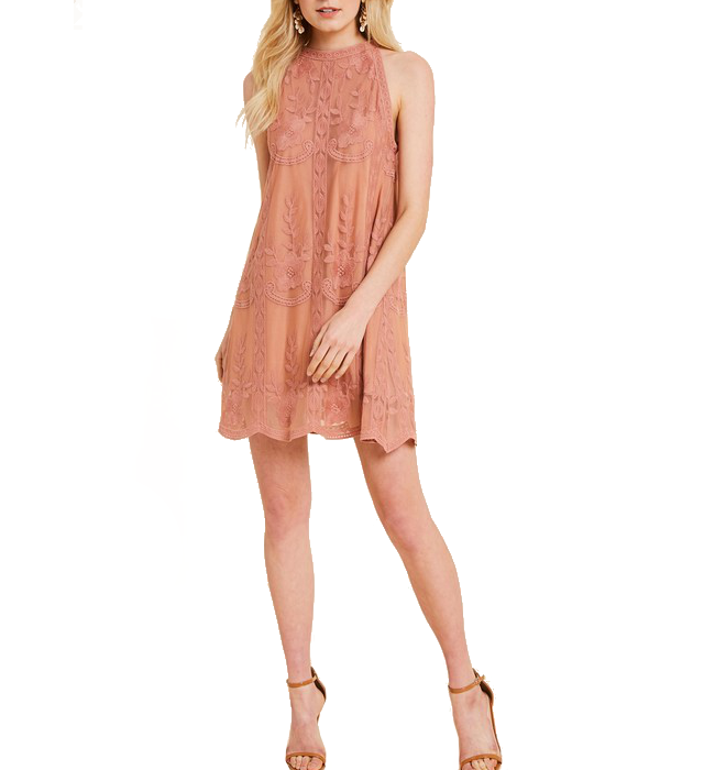 Dusty Rose Halter Lace Dress