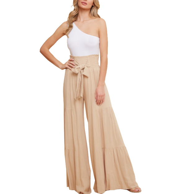 Smocking Waist Wide Leg Pants - Hudson Square Boutique LLC