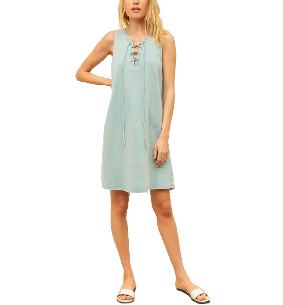 Laced Up French Terry Dress - Hudson Square Boutique