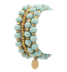 Gold and Mint Beaded Stretch Bracelet