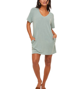 Sage Green T-Shirt Dress - Hudson Square Boutique LLC