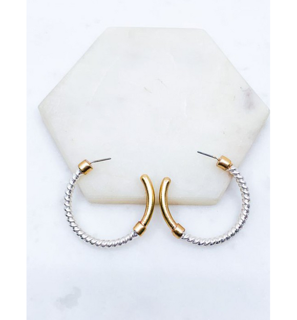 Rope Silver + Gold Hoops