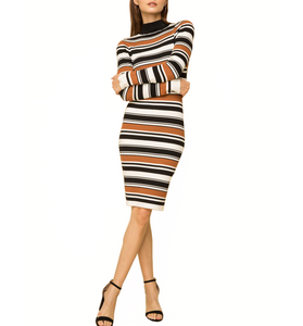 Mock Neck Ribbed Striped Dress