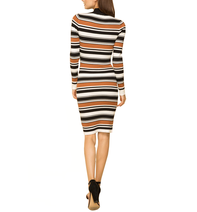 Mock Neck Ribbed Striped Dress - Hudson Square Boutique