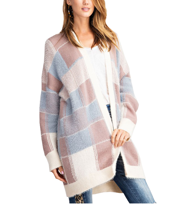 Cozy Natural Plaid Cardigan