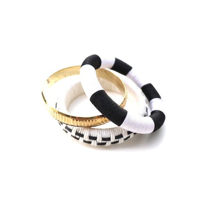 Trendy Black and White Bracelet Set