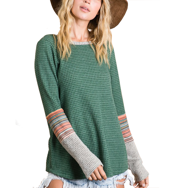 Hunter Green Sleeve Detail Top - Hudson Square Boutique