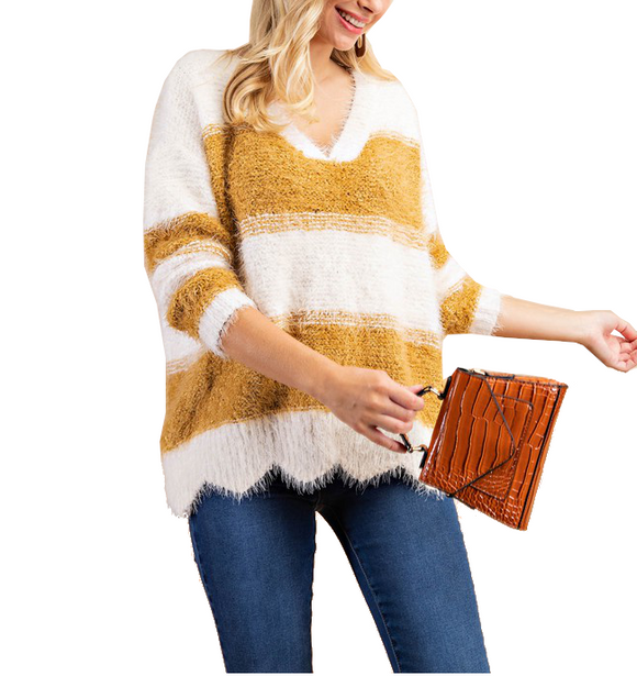 Striped Scalloped Mustard Ivory Sweater