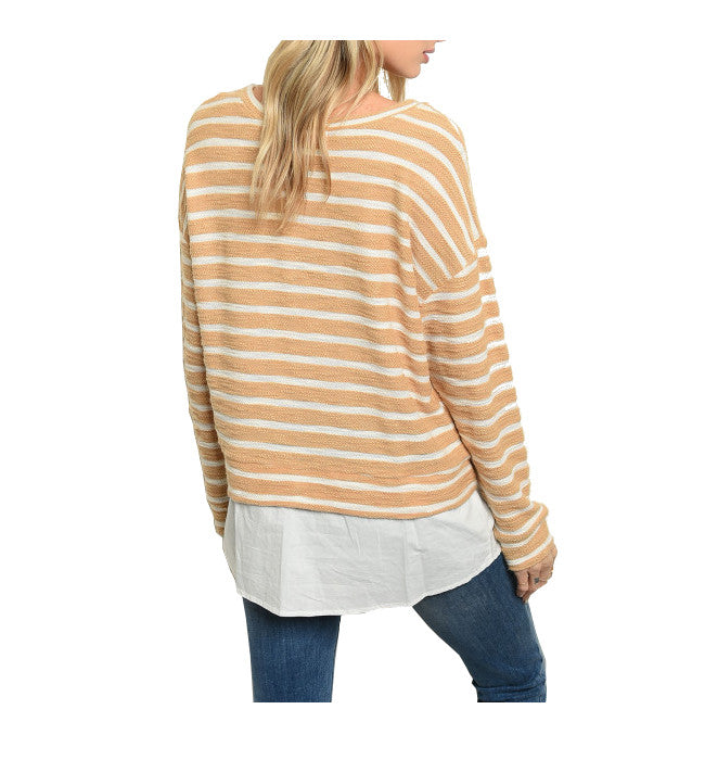 Mustard Layered Striped Nautical Long Sleeve Top