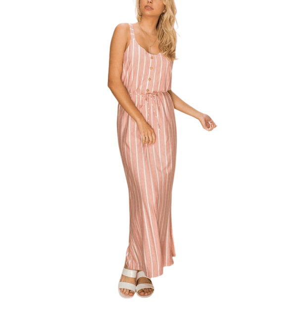 Dusty Pink + Ivory Striped Maxi - Hudson Square Boutique LLC