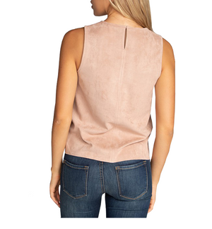 Vegan Suede Round Neck Tank Top