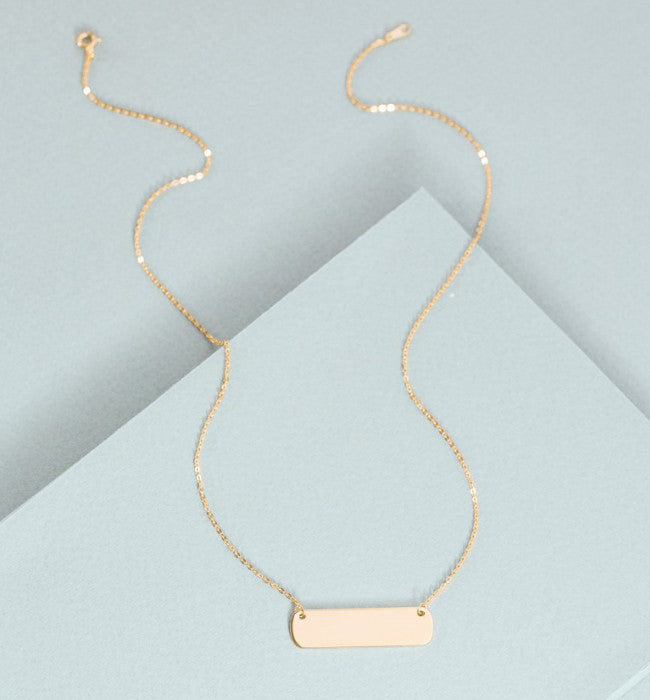 Tag Plate Bar Necklace