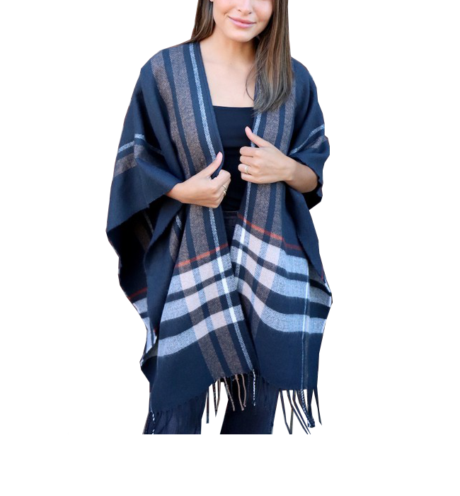 Navy Natural Toned Poncho Shawl