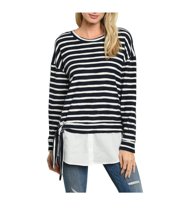 Navy Layered Striped Nautical Long Sleeve Top