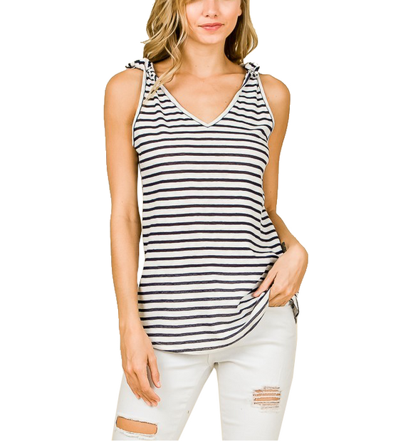 Navy & White Striped Tank - Hudson Square Boutique