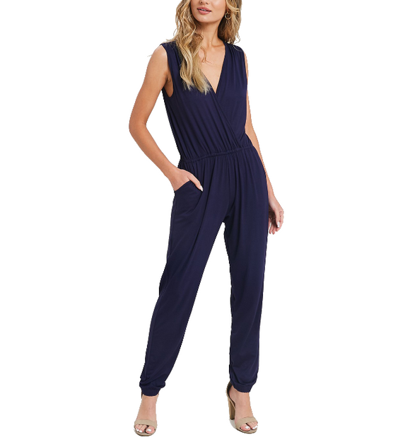 Navy Solid V-Neck Sleeveless Jumpsuit - Hudson Square Boutique