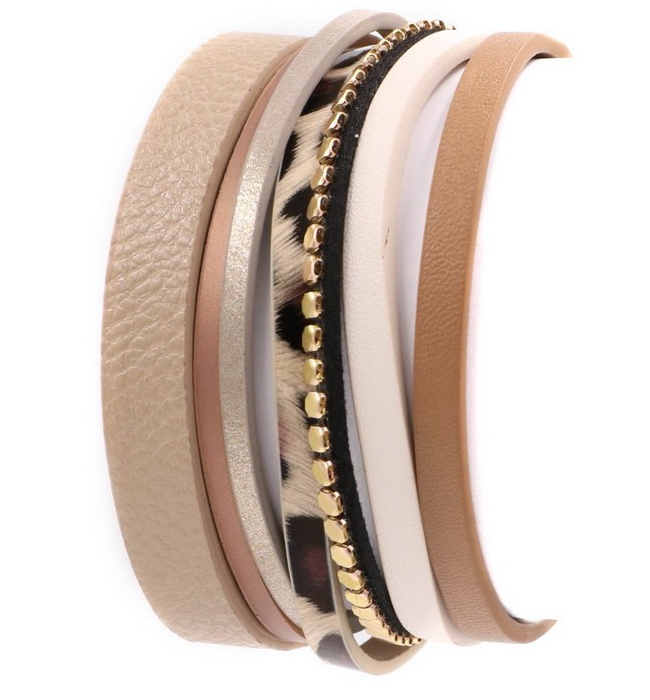 Beige Vegan Leather Layered Bracelet