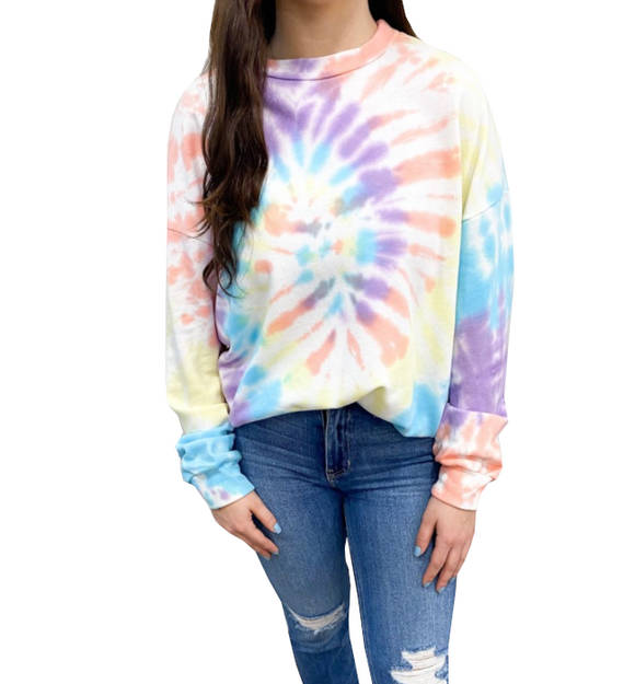 Bright Tie-Dye Long Sleeve Top