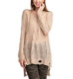 Distressed Sweater Knit Tunic