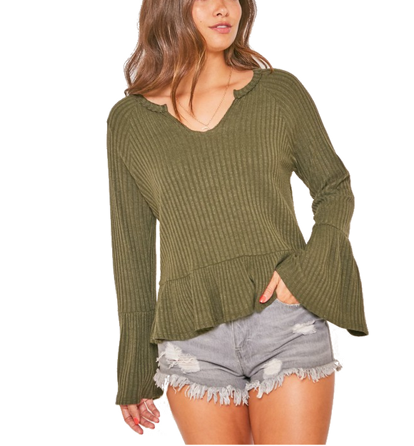 Olive Ribbed Bell Sleeve Top