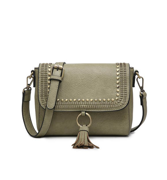 Anastasia Studded Crossbody Olive - Hudson Square Boutique LLC
