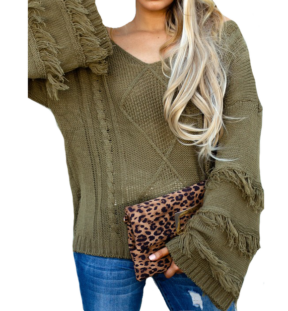 Olive Fringe Sleeve Sweater