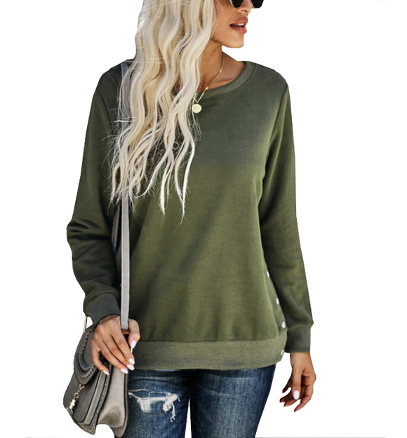 Green Sweatshirt with Side Slits + Snaps - Hudson Square Boutique