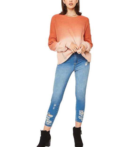 Distressed Ombre Sweater in Creamsicle