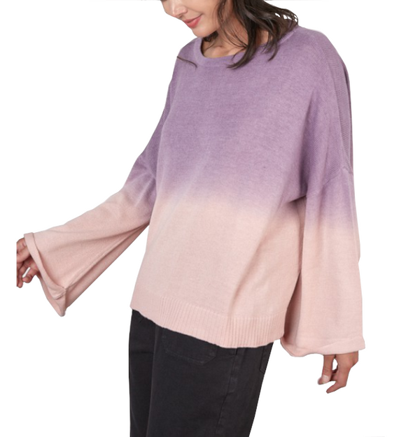 Plum Ombre Bell Sleeve Sweater