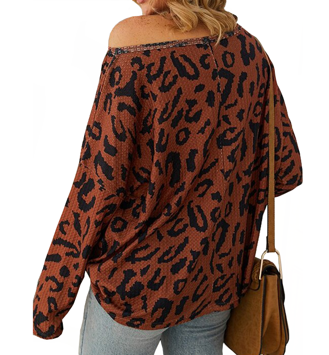 Show me some skin printed waffle top - Hudson Square Boutique