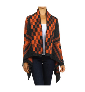 Orange + Charcoal Aztec Cardi