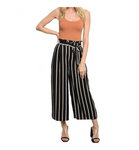 Striped High Waisted Cropped Wide Leg Trousers