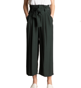 High Waisted Ribbon Trousers Tie Waist