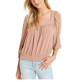 Dusty Rose Square Neck Top
