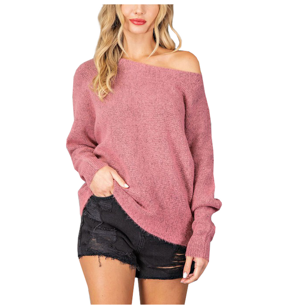 Mauve Ribbed Off the Shoulder