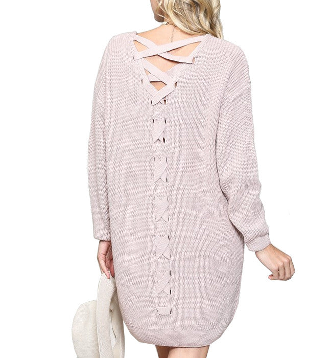 Pink Taupe Dramatic Sweater Dress
