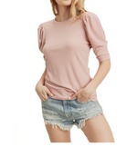 Puffy Shoulder Ribbed Top in Mauvey Pink