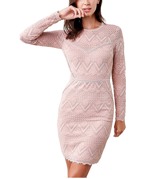 Mauve Flirty Lace Bodycon Dress - Hudson Square Boutique