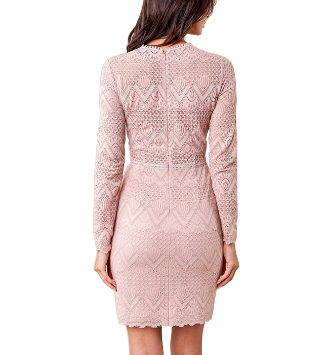 Mauve Flirty Lace Bodycon Dress