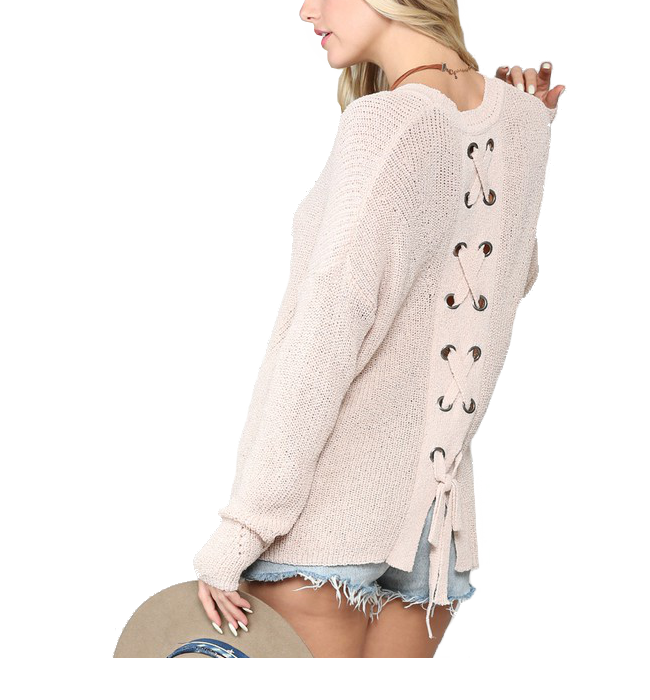 Criss-Cross Back Pullover Sweater